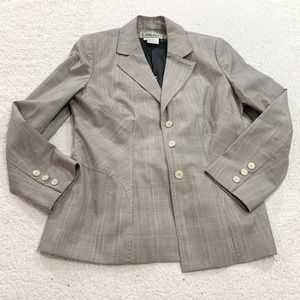 Carlisle long plaid wool silk blazer jacket